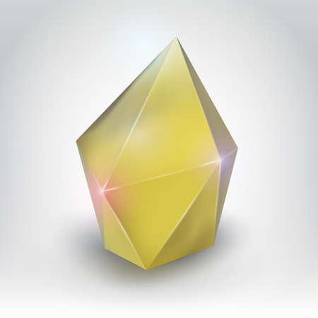 Yellow crystal  Illustration of a realistic gemstone