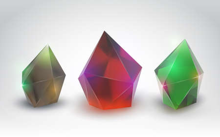 Beautiful crystals (Vector set of a realistic gemstone)