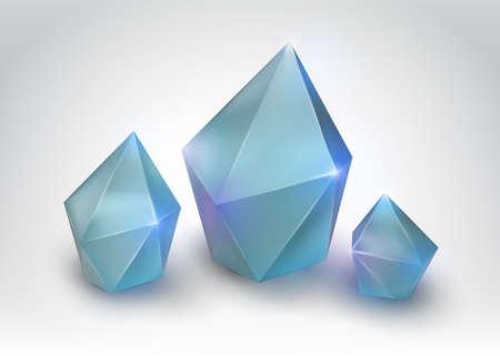 Quartz crystal illustration of a realistic gemstone