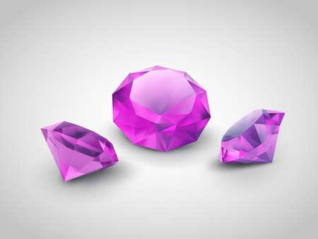 diamond jewelry: Beautiful gems isolated on grey background Illustration