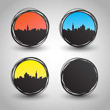 Set of cities  city at different times of the day  Vector