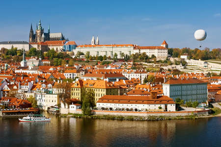 vltava: Day view of Castle, St. Vitus Cathedral and Vltava river,  Prague, Czech Republic Stock Photo