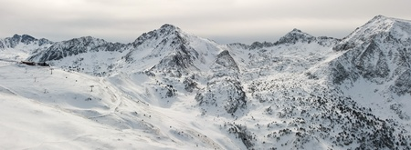 tourism in andorra: morning panorama of pyrenees mountains