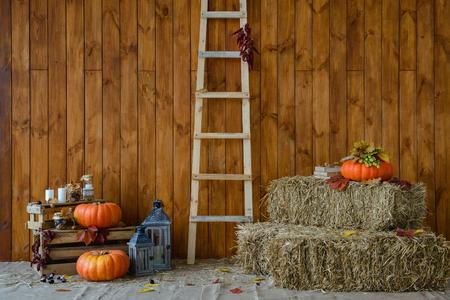 Herfst interieur. Elementen voor herfst composities Stockfoto