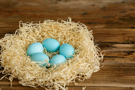 Easter eggs in the nest. It can be used as a background