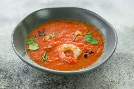 Gazpacho with prawns. Close up of a spanish cold vegetable soup gazpacho