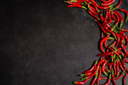 Bright red chilli pepper on a grey concrete background. Spicy food, ingredients. This can be used as a background