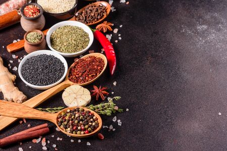 A set of spices and herbs. Indian cuisine. Pepper, salt, paprika, basil and other on a dark background. Top view. Free copy space