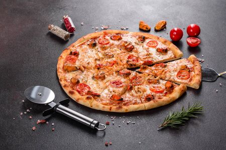 Seafood Italian pizza with shrimp, squid, mussels, fresh herbs and mozzarella on a dark background. Tasty sliced pizza with seafood and tomato on a concrete background