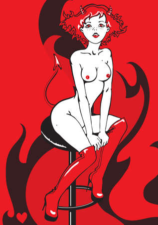 naked woman sitting: succubus