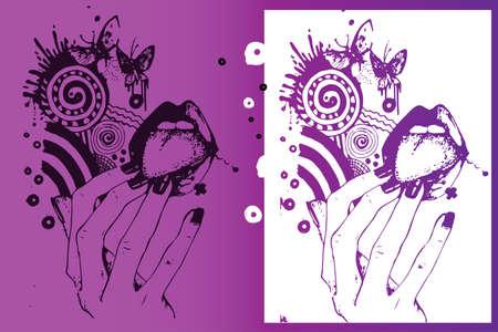 glam rock: ink Illustration