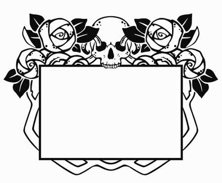 black frame with roses and skull