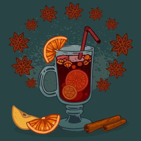 glass of mulled wine and fruit