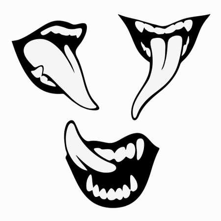 conjunto de tres sonrisas hambrientas de vampiros Ilustración de vector