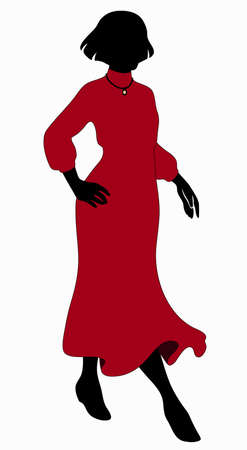 Fashion model. Silhouette of a woman in dress