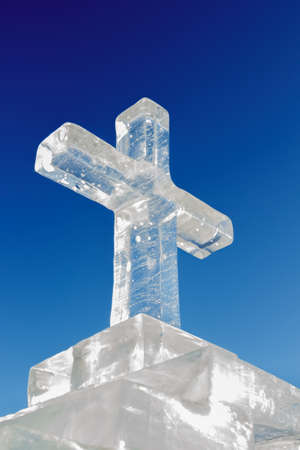 rood: Ice cross on a blue sky background.