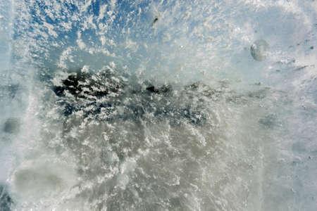 three dimensional: Transparent ice, frozen bubbles. Stock Photo