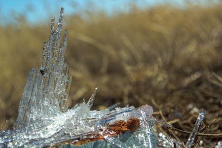 lighting technique: needles of ice Stock Photo