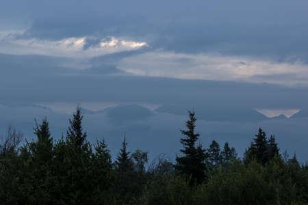 Forest mountains in the background shrouded in fog. Standard-Bild