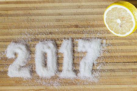Inscription sugar 2017. Happy New Year. Standard-Bild