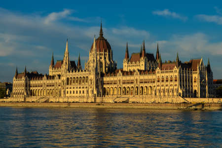 View on the Hungarian Parliament building from the Danube River. Budapest, Hungary