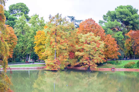 beautiful pond and colorful autumn trees in the Buen Retiro Park near the Crystal Palace. Madrid, Spain Imagens
