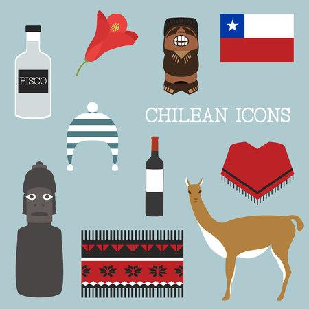 poncho: Chile conjunto de iconos. Tema chileno. Vectores