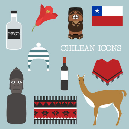 Chile icon set. Chilean theme.