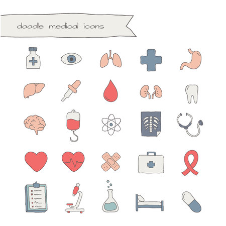 reanimation: medical doodle icons