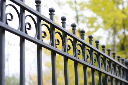 美しい錬鉄フェンス。装飾的な鋳鉄の柵の画像です。金属フェンスをクローズ アップ。金属鍛造フェンス。美しい芸術的な鍛造フェンス