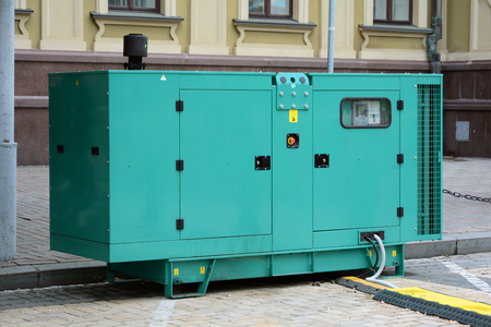 power cables: Diesel generator for emergency electric power. Electric diesel generator.