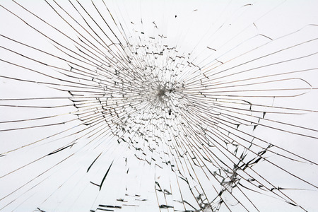 Broken glass white background Stock Photo