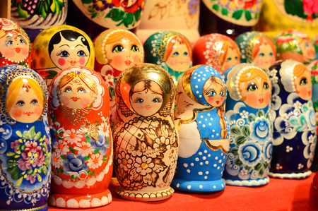 BUDAPEST, HUNGARY - DECEMBER 21, 2017: Matryoshka Nesting Dolls: Meaning of Wooden Stacking Doll Editorial