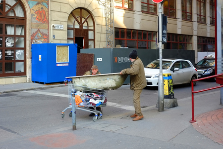 BUDAPEST, HUNGARY - DECEMBER 21, 2017: Homeless people on the street.