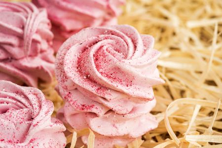Hand made pink fruit marshmallow as background. Imagens