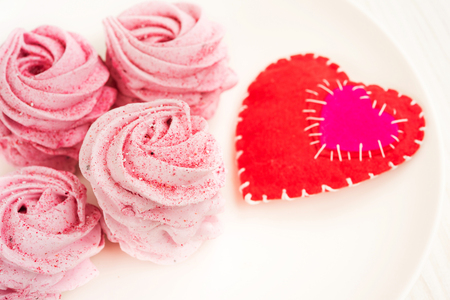 Pink fruit marshmallow for Valentine Day as background