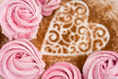 Pink fruit marshmallow for Valentine Day as background.