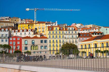 LISBON, PORTUGAL - FEBRUARY 12, 2019: Beautiful view on Lisbon street and Casa dos Bicos at the Campo das Cebolas. Editorial