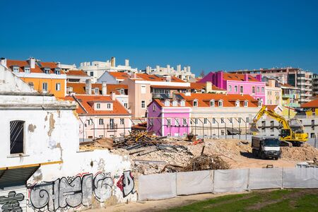 LISBON, PORTUGAL - FEBRUARY 12, 2019: Construction work on the dismantling of buildings in Lisboa.