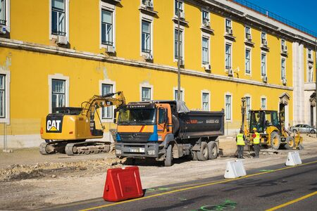 LISBON, PORTUGAL - FEBRUARY 12, 2019: Construction work on the repair and restoration of roads in Lisboa
