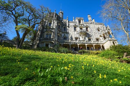 SINTRA, PORTUGAL - FEBRUARY 11, 2019: Quinta da Regaleira Palace and gardens of Unesco Heritage in historic center of Sintra, Portugal. Editorial