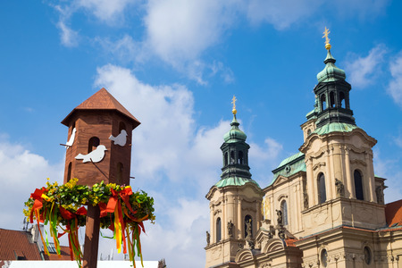 Celebrate Easter Town Square. View on a Church of St. Nicholas