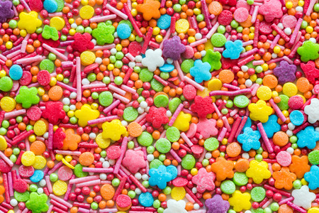 Background of colorful decoration for sweets, cake and bakery. Stockfoto