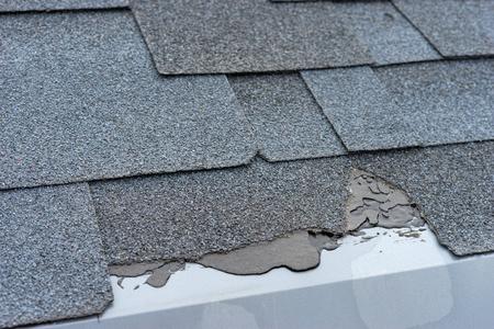 �¡loseup view of asphalt shingles roof damage that needs repair.