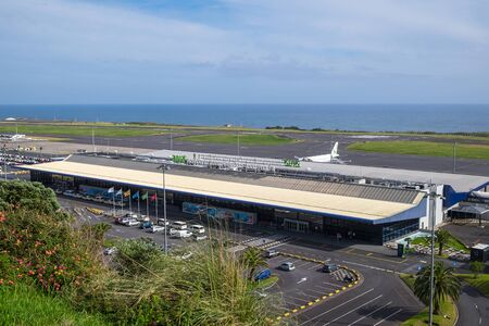 San Miguel, Portugal - May 12, 2019: Beautiful view of Ponta Delgada airport against the sky and the ocean.