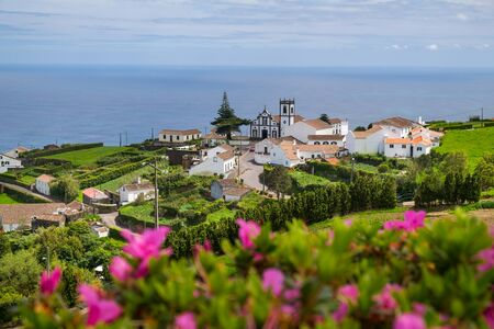 Beautiful view of the village in Nordeste against Atlantic Ocean, Sao Miguel Island, Azores, Portugal. Stok Fotoğraf