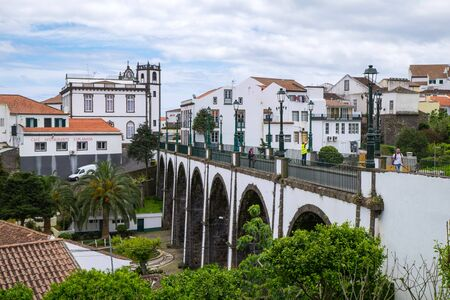San Miguel, Portugal - May 15, 2019: Beautiful view of the old stone arch bridge in Nordeste, Azores.