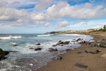 Beautiful background of the Atlantic Ocean and the villages on the shore of the island of San Miguel.