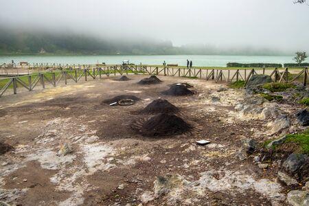 San Miguel, Portugal - May 11, 2019:  Geothermal cooking in Fumarolas da Lagoa das Furnas, Azores.
