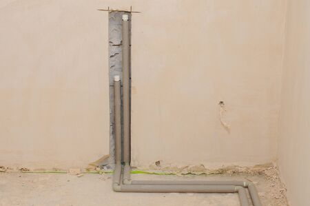 Domestic plumbing pipes connections for heating radiator.